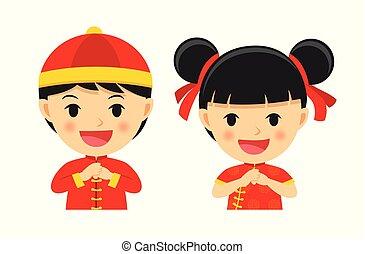 jongen, set, chinees, celebrate., karakter, vrijstaand, spotprent, traditionele , achtergrond., jaar, nieuw, witte , vrolijke , meisje, kleren