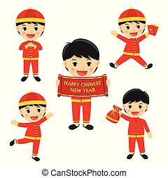 jongen, set, chinees, celebrate., karakter, vrijstaand, traditionele , achtergrond., jaar, nieuw, witte , vrolijke , spotprent, kleren