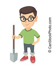 jongen, shovel., vasthouden, het glimlachen, kaukasisch, bril