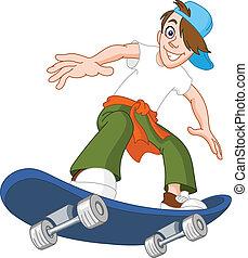 jongen, skateboard