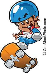 jongen, skateboard, ethnische