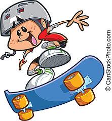 jongen, skateboard, helm