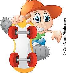 jongen, skateboarding