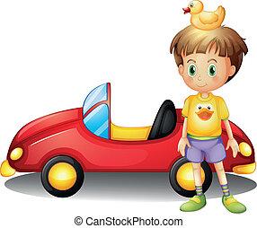 jongen, speelbal, groot, jonge, badeend, auto