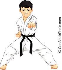 jongen, spotprent, karate