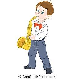 jongen, spotprent, saxophonist