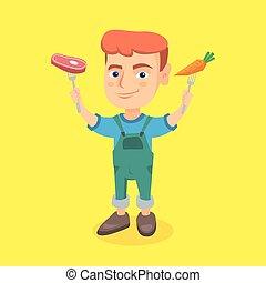 jongen, steak., wortel, vasthouden, fris, kaukasisch