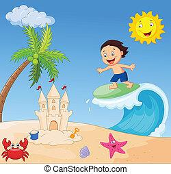 jongen, surfing, spotprent, vrolijke