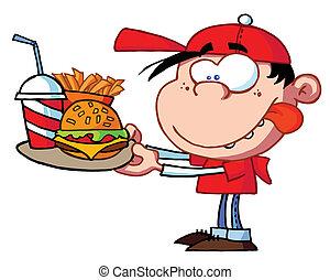 jongen, vasten, etende etenswaar
