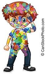 jongen, verven, zijn, watercolor, lichaam