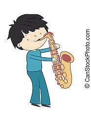 jongen, -, vrijstaand, illustratie, vector, saxofone, achtergrond, witte , spelend