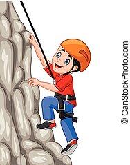 jongen, vrolijke , rots, spotprent, beklimming
