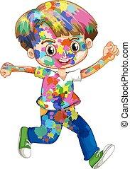 jongen, vrolijke , zijn, watercolor, lichaam