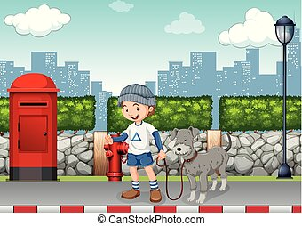 jongen, wandelende, zijn, straat, dog