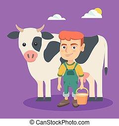 jongen, weinig; niet zo(veel), cow., farmer, milking, kaukasisch