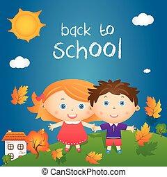 """jongen, weinig; niet zo(veel), noteren, school""""., """"back, illustratie, herfst, vector, meisje, spotprent, landscape, vrolijke"""