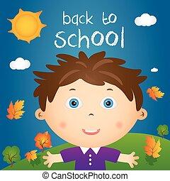 """jongen, weinig; niet zo(veel), noteren, school""""., """"back, illustratie, herfst, vector, spotprent, landscape, vrolijke"""