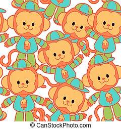 jongen, weinig; niet zo(veel), set, aap, vrolijke , pet, gelukkig, pet, kleren, spotprent, stijl