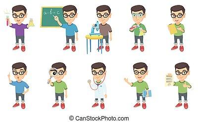 jongen, weinig; niet zo(veel), set., vector, illustraties, kaukasisch