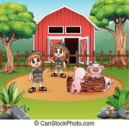 jongen, werf, boerderij, meisje, zookeepers