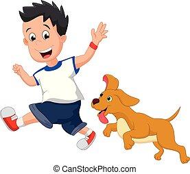 jongen, zijn, aanhalen, dog, illustratie, rennende