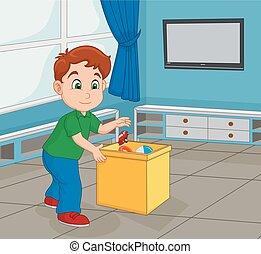 jongen, zijn, container, op, speelbal, pluk, toddler, winkel