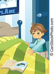 jongen, zijn, het maken van het bed