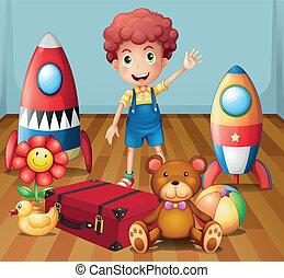 jongen, zijn, kamer, binnen, jonge, speelgoed