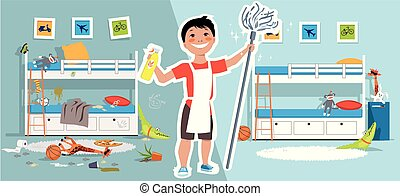 jongen, zijn, poetsen, kamer