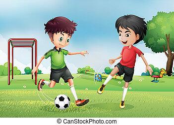 jongens, voetbal, park, twee, spelend