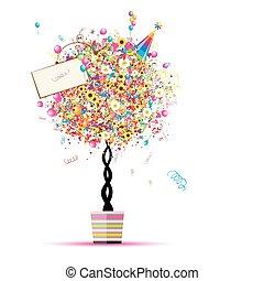 jouw, ballons, vakantie, gekke , boompje, vrolijke , pot, ontwerp