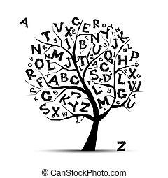 jouw, brieven, kunst, boompje, ontwerp, alfabet