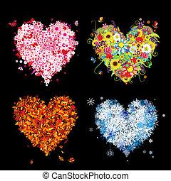 jouw, lente, winter., jaargetijden, -, herfst, zomer, kunst, hartjes, vier, ontwerp, mooi