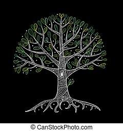 jouw, wortels, boompje, ontwerp