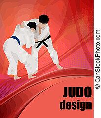 judo, ontwerp, poster