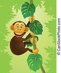 jungle, chipansee, spotprent