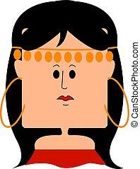 jurkje, achtergrond., illustratie, zigeuner, vector, meisje, wit rood