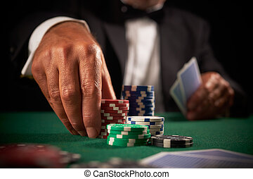 kaart, casino, speler, frites, geluksspelletjes