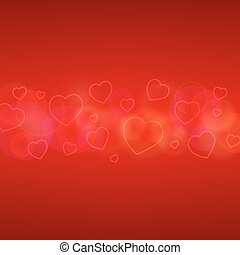kaart, dag, hearts., valentines