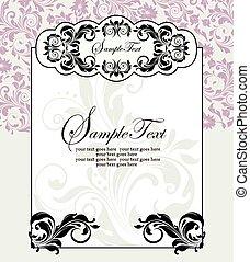 kaart, elegant, sierlijk, ontwerp, floral, ouderwetse , uitnodiging, abstract
