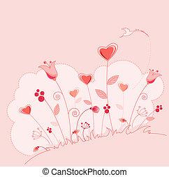 kaart, groet, bloemen, dag, valentine