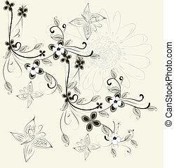 kaart, groet, floral
