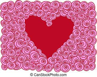 kaart, hart, rozen, groet, rood