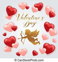 kaart, hartjes, dag, cupido, valentine