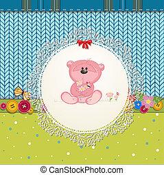 kaart, ontwerp, jouw, beer, teddy