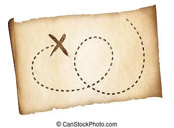 kaart, oud, piraten, eenvoudig, schat, opvallend, plaats, steegjes