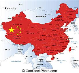 kaart, politiek, china