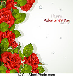 kaart, rozen, rood, valentine`s dag