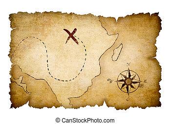 kaart, schat, piraten, opvallend, plaats