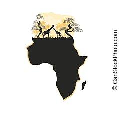 kaart, silhouette, safari, afrikaan